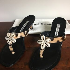 Manolo Blahnik calf and shell sandals